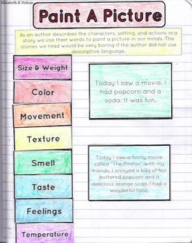 Painting A Picture With Words: Descriptive Writing Interactive Note