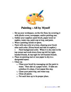 Painting Center Directions for Step-by-Step Independent Painting