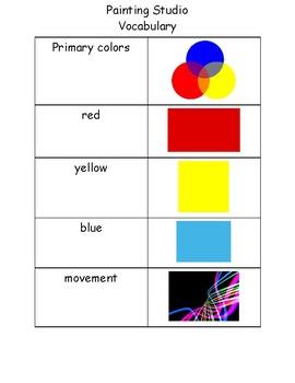 Painting Center Vocabulary