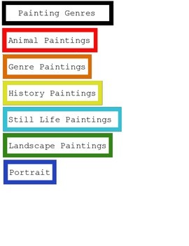 Painting Genres Art Sorting Cards