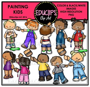 Painting Kids Clip Art Bundle {Educlips Clipart}