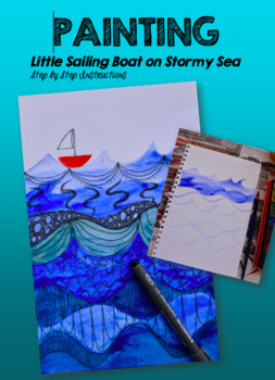 Painting - Little Sailing Boat on Stormy Sea
