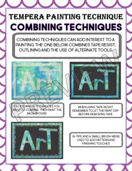 Tempera Painting Technique Posters and Word Wall Bundle