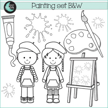 Painting Set - Paper Moon Clip Art