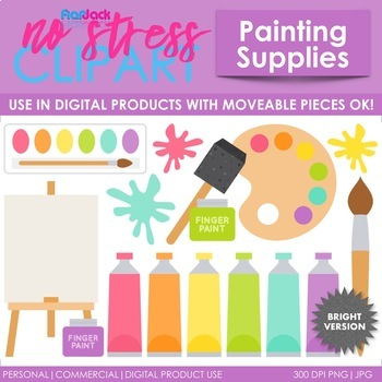 Painting Supplies Clip Art Bright Set (Digital Use Ok!)