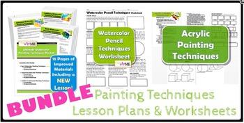 Painting Techniques BUNDLE Lesson Plans & Worksheets