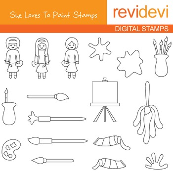 Painting art supplies clip art blackline - She loves to paint line art