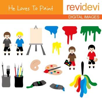 Painting class clip art - Art class clipart - Boys