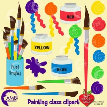 Painting Class Clipart, Art Class, Visual Arts, {Best Teacher Tools} AMB-318