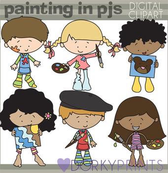 Painting in Your PJs Clipart