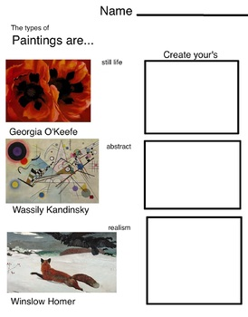 Art is ... Paintings (3 pages, includes Teachers Guide)