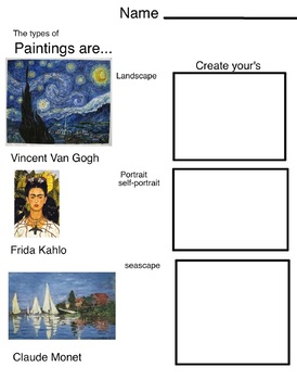 Paintings (3 pages, includes Teachers Guide)