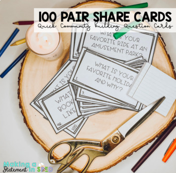 Pair Share Community Building Question Cards