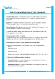 Pair of linear equations in two variables | Assessment | Worksheets