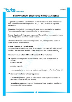 Pair of linear equations in two variables | Assessment | Worksheets (Algebra 2)