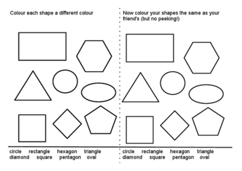 pair shape colouring exercise - Shape Colouring Pictures
