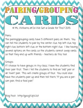Pair/Group Cards