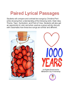 Paired Lyrical Passages (Theme, Main Idea, Point of View)