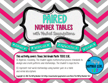 Paired Number Tables with Verbal Descriptions TEKS 3.5E