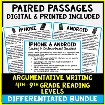 Paired Passage DIFFERENTIATED Bundle - Common Core Aligned