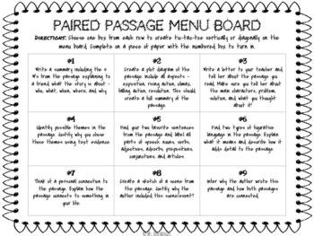 Paired Passage Menu Board