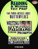 SBAC READING & WRITING Test Prep Guide ~ 2 PAIRED ARTICLES ~ About Butterflies