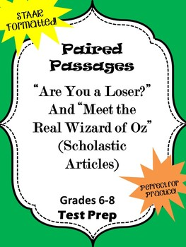 "Paired Passages ""Are You a Loser?"" and ""Meet the Real Wizard of Oz"""