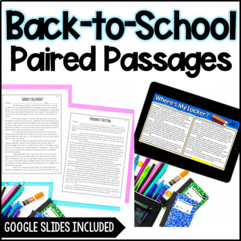 Paired Passages {Back to School Themed}
