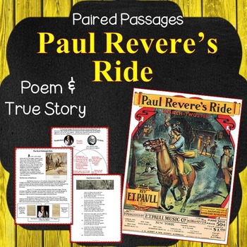 True teaching resources teachers pay teachers paired passages paul revere compare the poem and the true story fandeluxe Image collections