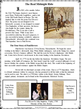 PAIRED PASSAGES PAUL REVERE: COMPARE THE POEM AND THE TRUE STORY