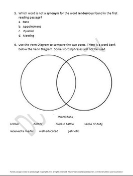 Reading Strategies/Close Reading Paired Passages: Poetry Passage 1