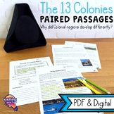 13 Colonies Paired Passages: Reading Comprehension & Writing  Colonial America