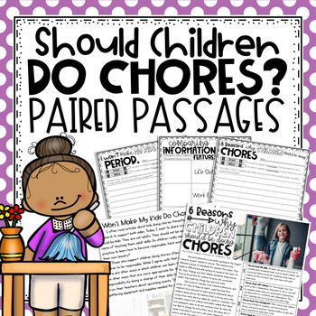 Paired Passages & Writing Prompt about Children Doing Chores
