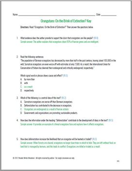 Paired Passages w/ CCSS Aligned Questions: Endangered Species Grades 5-6