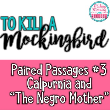 Paired Passages with To Kill a Mockingbird - #3, Cal and N