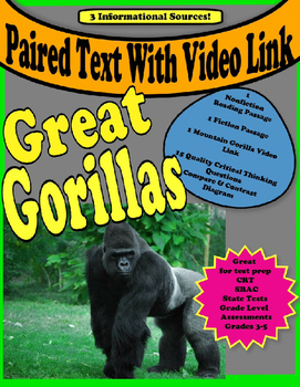 Paired Text - Gorillas - Animals - Compare and Contrast - SBAC - CRT