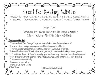Paired Text (Informational & Poetry) Games/Activities Life Cycle of a Butterfly