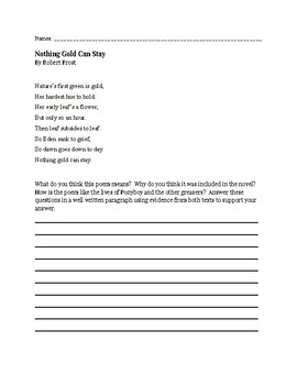 Paired Text Practice - Nothing Gold Can Stay and The Outsiders