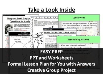 Earth Day Paired Text Lesson, Speech and Poem with Creative Project