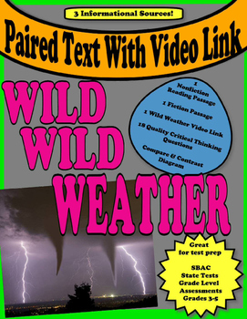 """Paired Text """" Wild Weather""""  Hurricanes  Tornadoes  Thunderstorms"""