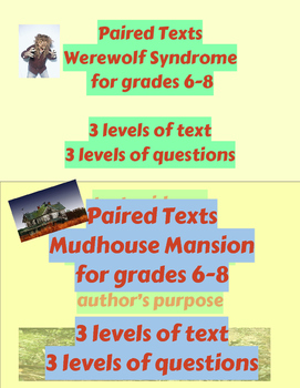 Paired Texts Bundle:  Werewolf Syndrome and Mudhouse Mansion
