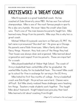 Paired Texts: Famous Coaches: Mike Krzyzewski and Roy Williams (Grades 1-2)