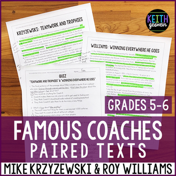 Paired Texts: Famous Coaches: Mike Krzyzewski and Roy Williams (Grades 5-6)