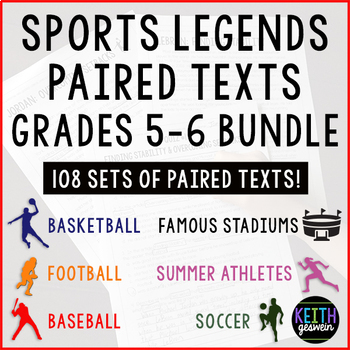Paired Texts Mega Bundle 108 Sets Of Paired Texts About Famous Athletes