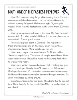 Paired Texts: Michael Phelps and Usain Bolt (Grades 1-2)