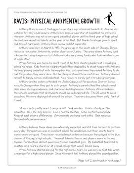 Basketball Paired Texts: Anthony Davis and Shaquille O'Neal: Nonfiction Passages