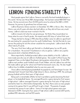 Basketball Paired Texts: LeBron James and Michael Jordan (Grades 5-6)
