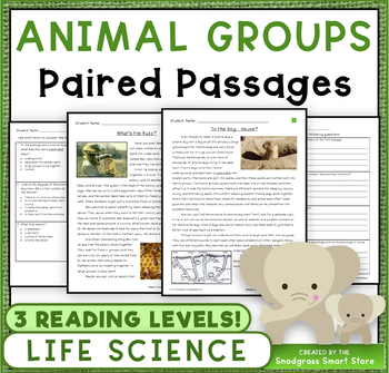 Paired Texts/Paired Passages: Animal Groups (NGSS 3-LS2-1)