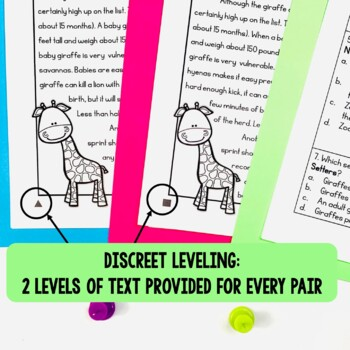 Paired Texts / Paired Passages: Giraffes and Zoos Grades 4-8