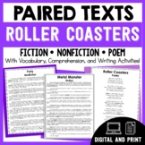 Paired Texts Roller Coasters - Passages, Vocabulary, & Comprehension Activities